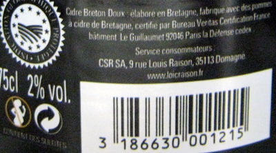 Cidre Breton Doux - Ingredients - fr