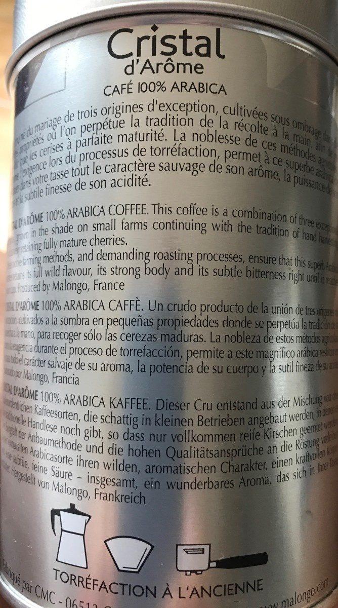 Malongo Kaffee 'cristal D'arôme' (250g Metalldose) - Ingredienti - fr