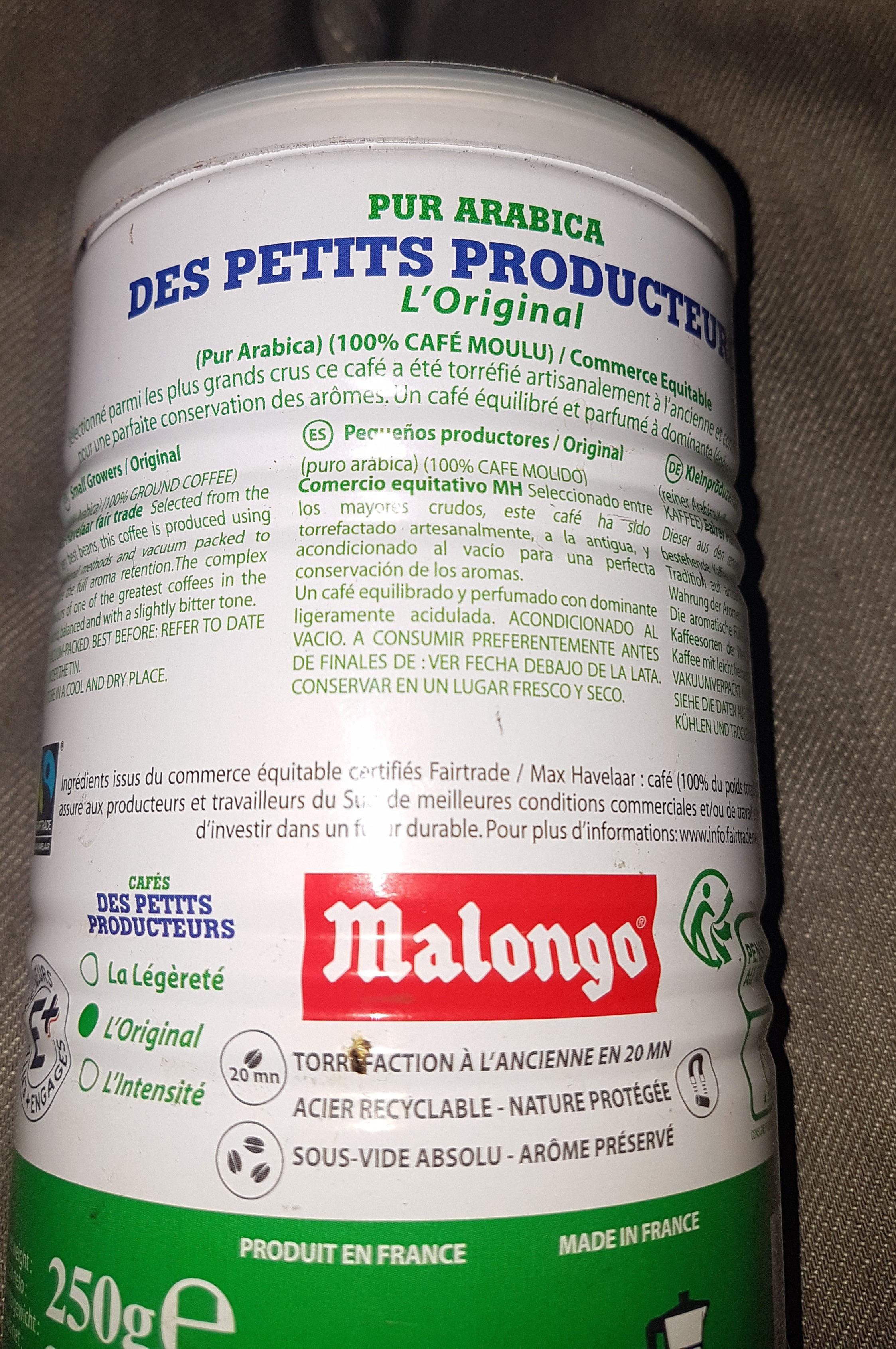 Café moulu pur arabica des petits producteurs - Nutrition facts