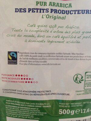 Café en grains Arabica Des petits producteurs. - Ingredienti - fr