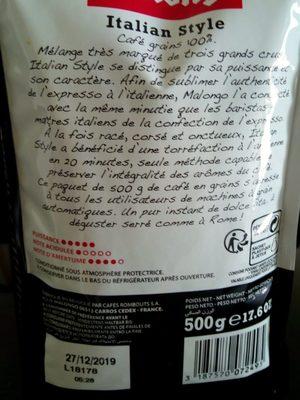 500G Cafe Grains Italien Style Malongo - Ingredients