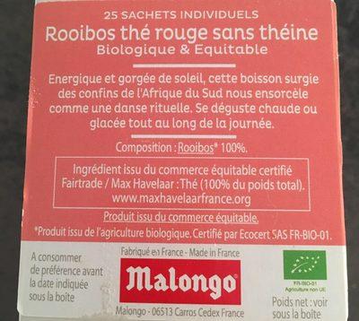 Bio tea malongo rooibos thé rouge - Ingredienti - fr
