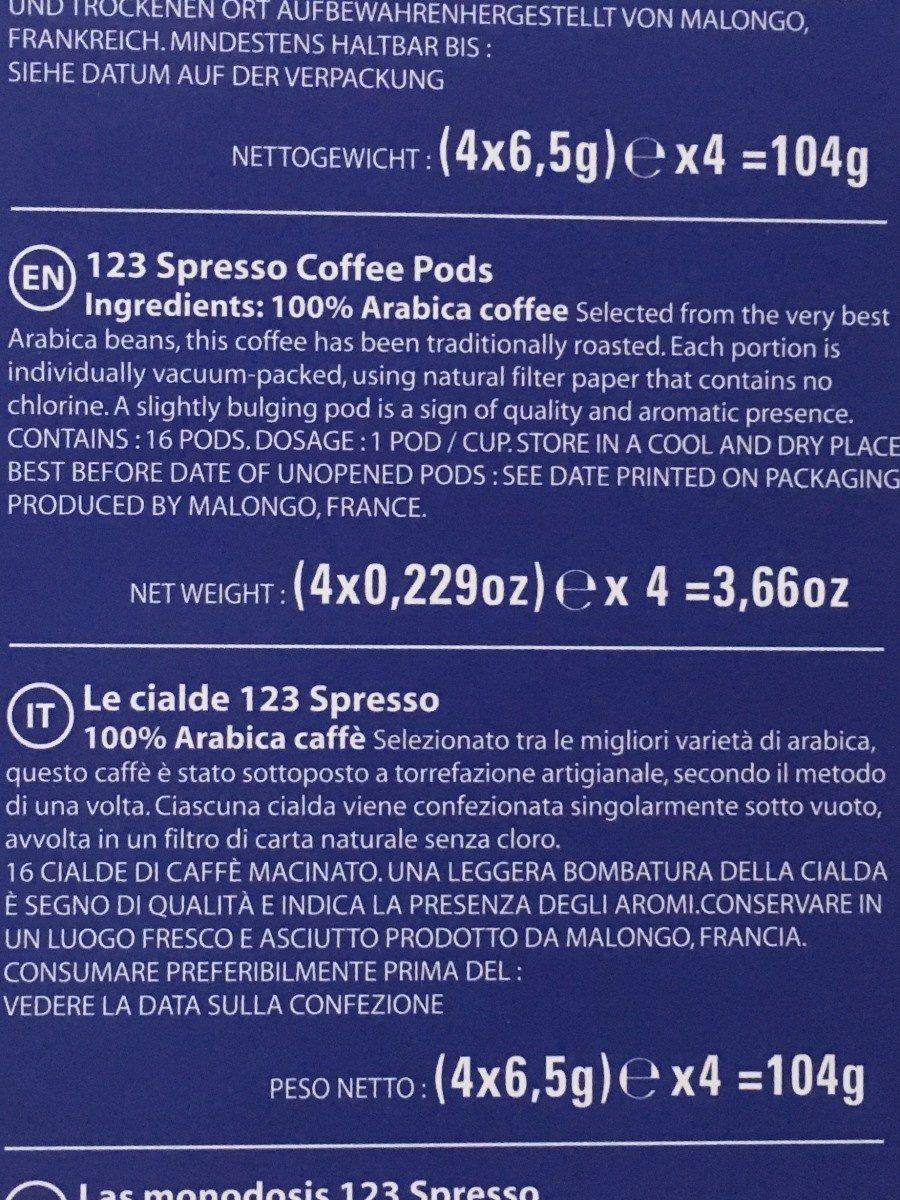Dosette café Malongo - Ingredienti - fr