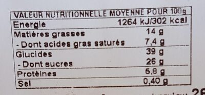 Chouquette nature (x25) - Informations nutritionnelles