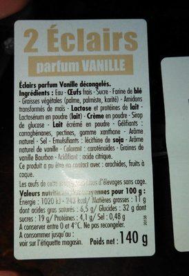 2 Éclairs parfum VANILLE - Ingrédients