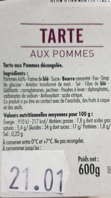Tarte aux pommes - Voedingswaarden - fr