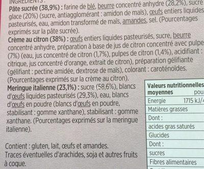 4 Tartelettes Citron Meringuées - Ingredients - fr