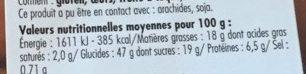 Beignets parfum Chocolat noisette - Informations nutritionnelles - fr