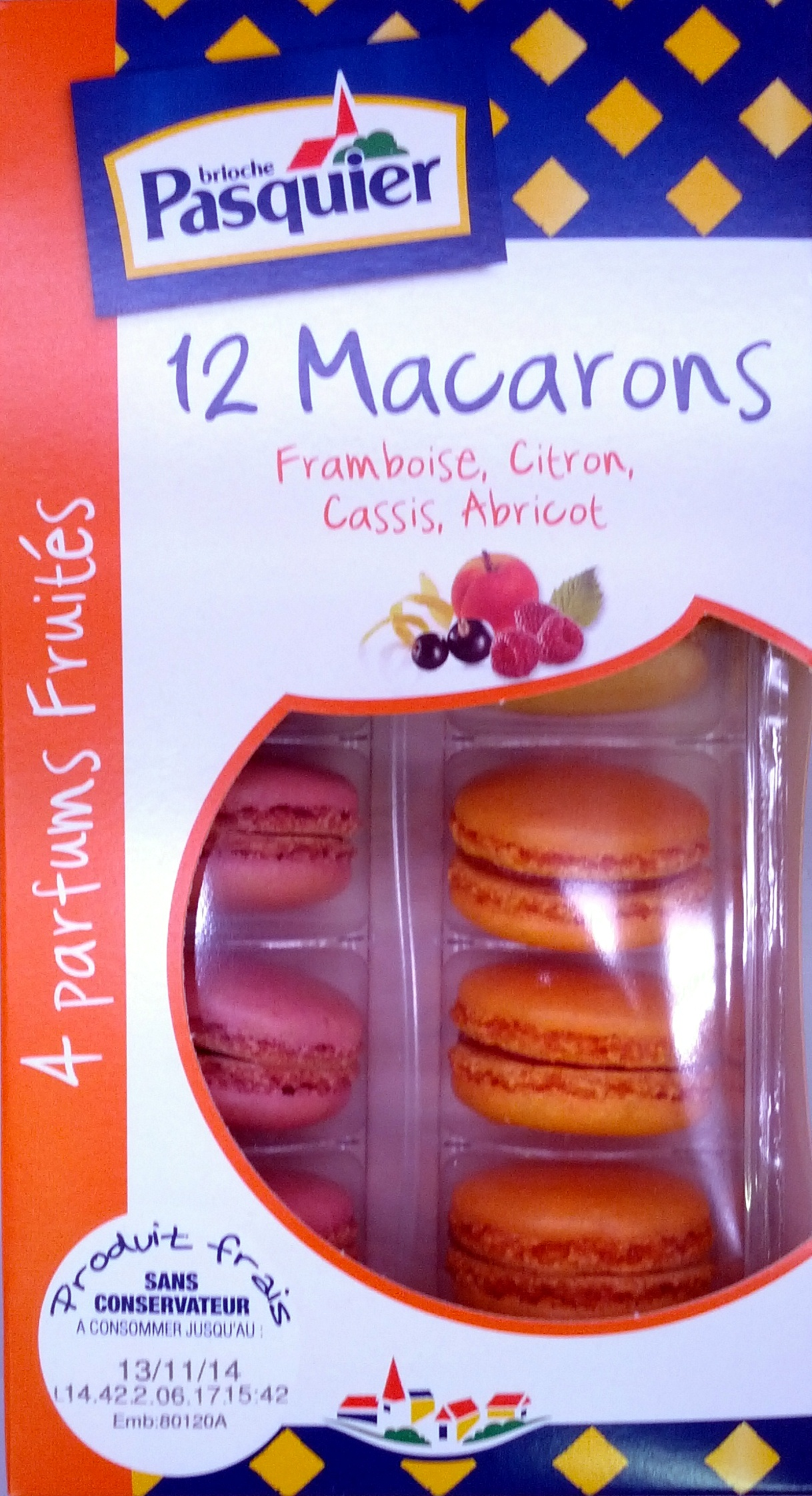 12 Macarons Framboise, Citron, Cassis, Abricot - Product - fr