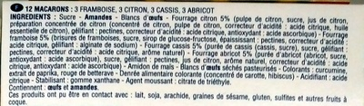 12 Macarons Framboise, Citron, Cassis, Abricot - Ingredients - fr