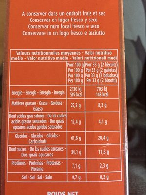 Cookies pepites de chocolat nougatine - Voedingswaarden - fr