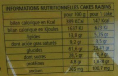 Cake Au raisins - Voedingswaarden - fr