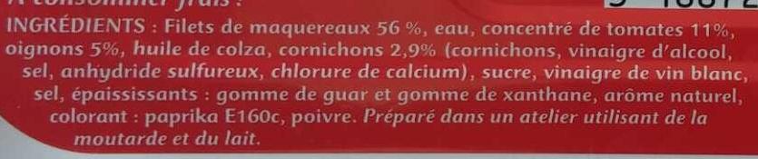 Filets de Maquereaux Catalane - Ingrédients - fr