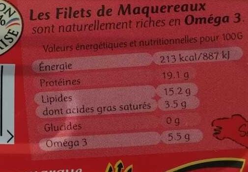 Filets de Maquereaux Catalane - Informations nutritionnelles - fr