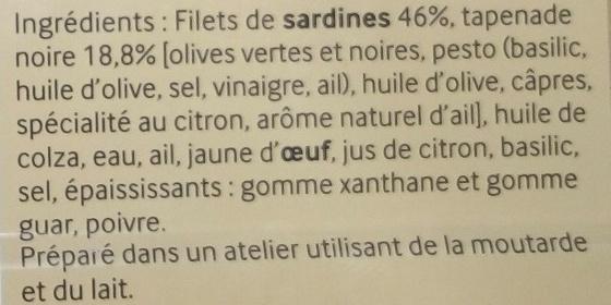 Les Tartinables (Sardines & Tapenade d'Olives) - Ingrédients - fr