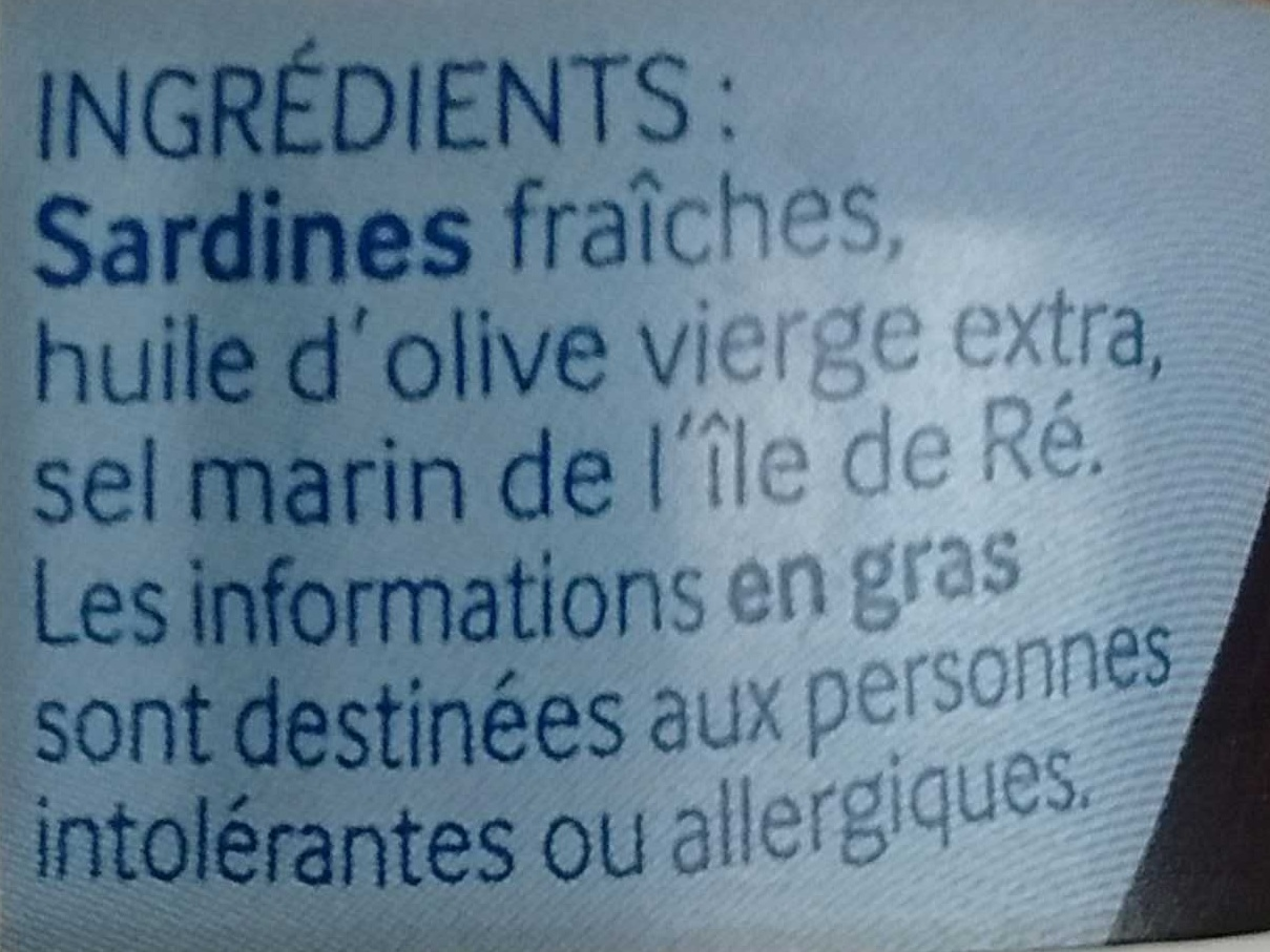 Sardines de l'Ile de Ré - Ingrédients - fr