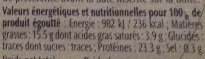 Sardines à l'huile d'Olive Vierge Extra (Label Rouge) - Nutrition facts - fr