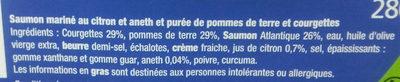 Saumon Mariné & Purée de Courgette et Pomme de terre - Ingrédients