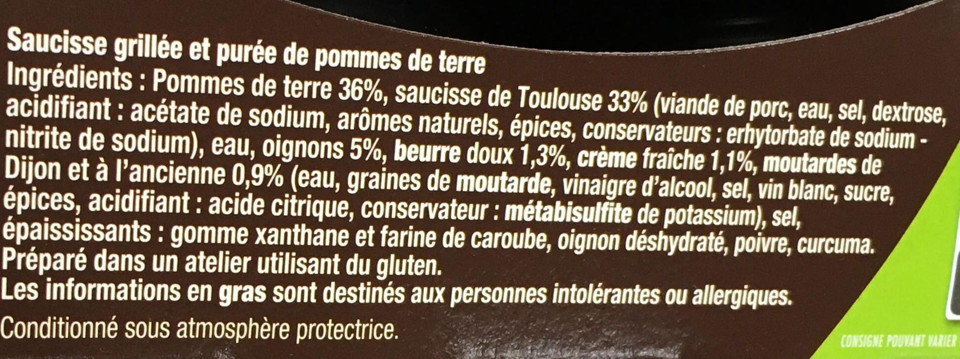 Saucisse Grillée & Purée de Pomme de Terre - Ingrédients