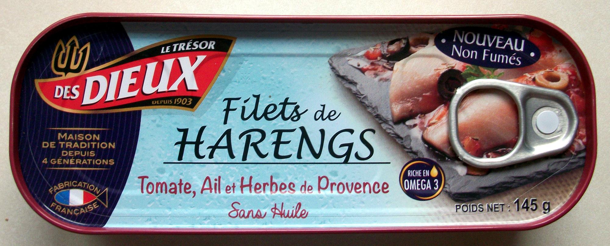 Filets de harengs (Tomate, Ail et Herbes de Provence, Sans Huile) - Produit