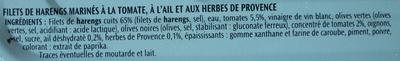 Filets de harengs (Tomate, Ail et Herbes de Provence, Sans Huile) - Ingrédients