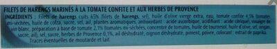 Filets de Harengs(Tomate confite herbe de Provence)- - Informations nutritionnelles - fr