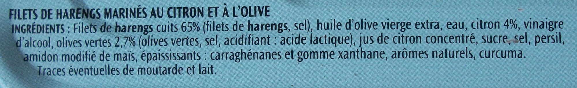 Filets de Harengs (Olive et Citron, À l'Huile d'Olive) - Ingrédients