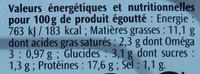 Filets de Harengs (Olive et Citron, À l'Huile d'Olive) - Informations nutritionnelles