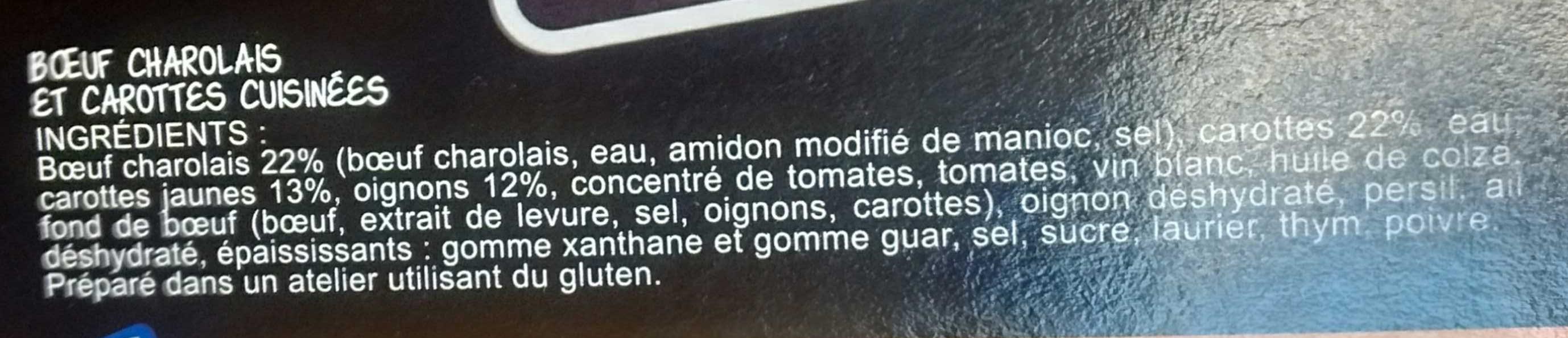 Bœuf charolais & carottes cuisinées - Ingrédients