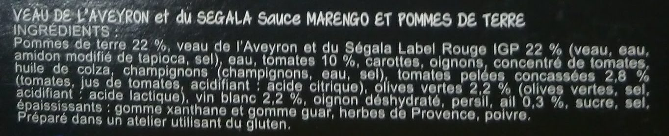 Veau de l'Aveyron et du Segala au Marengo - Ingrédients - fr