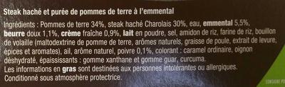 Steak haché Charolais & Purée à l'Emmental - Ingrédients - fr
