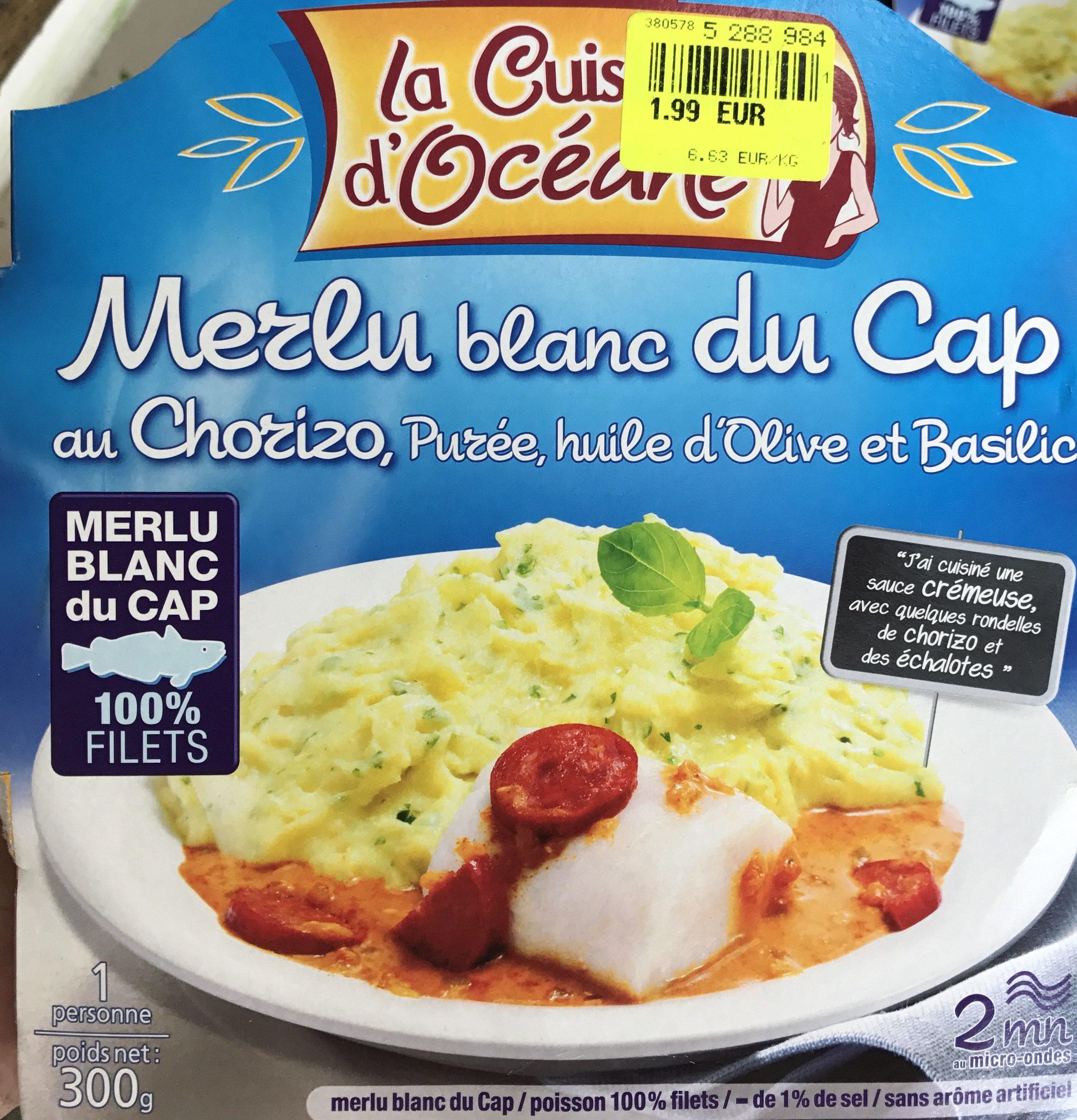 Merlu blanc du Cap au Chorizo, purée, huile d'olive et basilic - Produit - fr