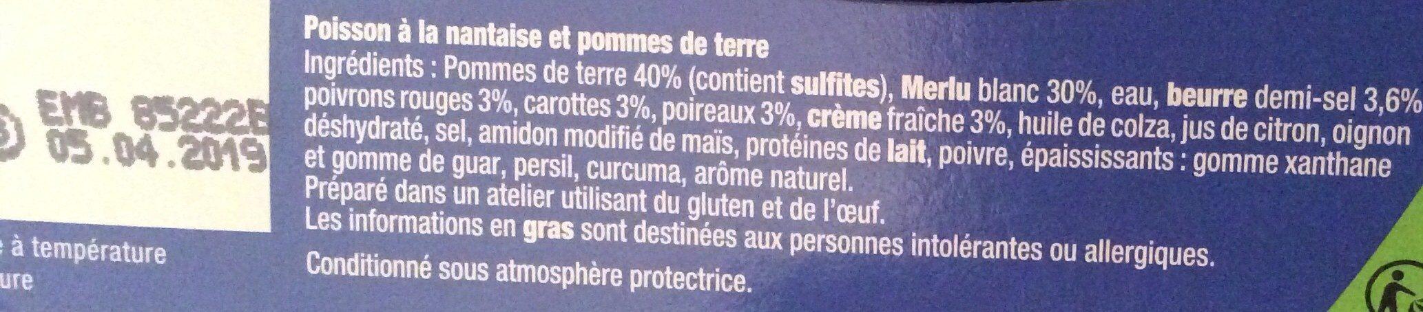 Poisson à la Nantaise & Pommes de terre - Ingredients - fr