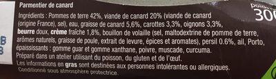 Parmentier de Canard - Ingrédients - fr