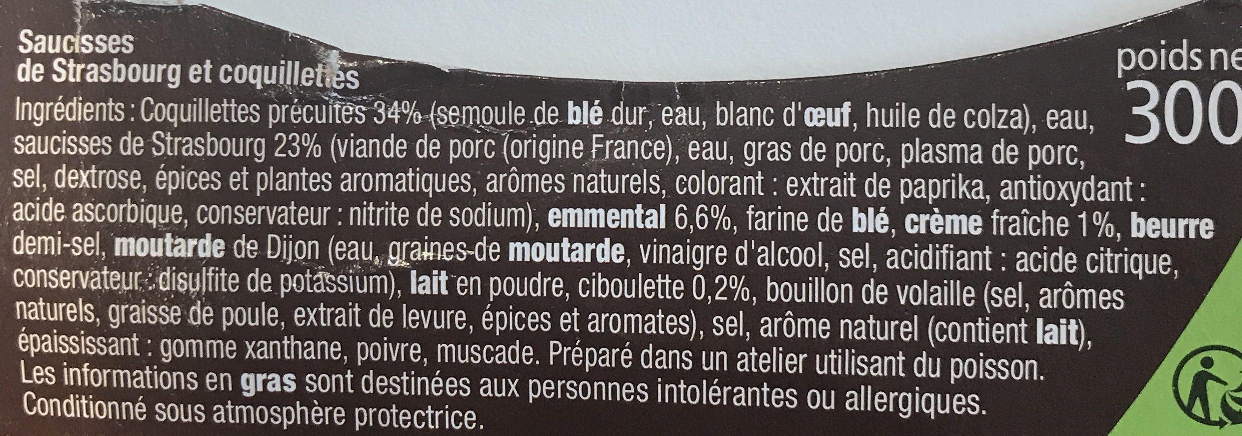 Saucisses de Strasbourg & coquillettes - Ingredients - fr