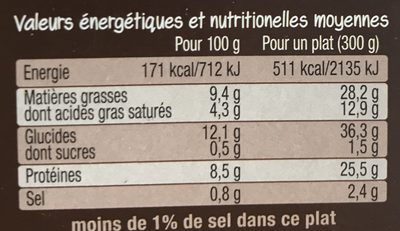 Saucisses de Strasbourg & coquillettes - Nutrition facts - fr
