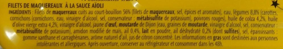 Filets de maquereaux Aïoli - Ingrédients