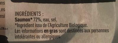 Filet de saumon bio au naturel - Ingrédients - fr