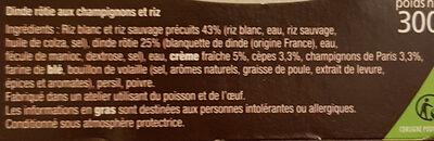 Dinde rôtie forestière et Duo de riz - Ingrédients - fr