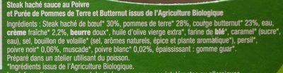 Steak Haché, Sauce au Poivre et Purée de Pommes de Terre et Butternut Bio - Ingrédients - fr