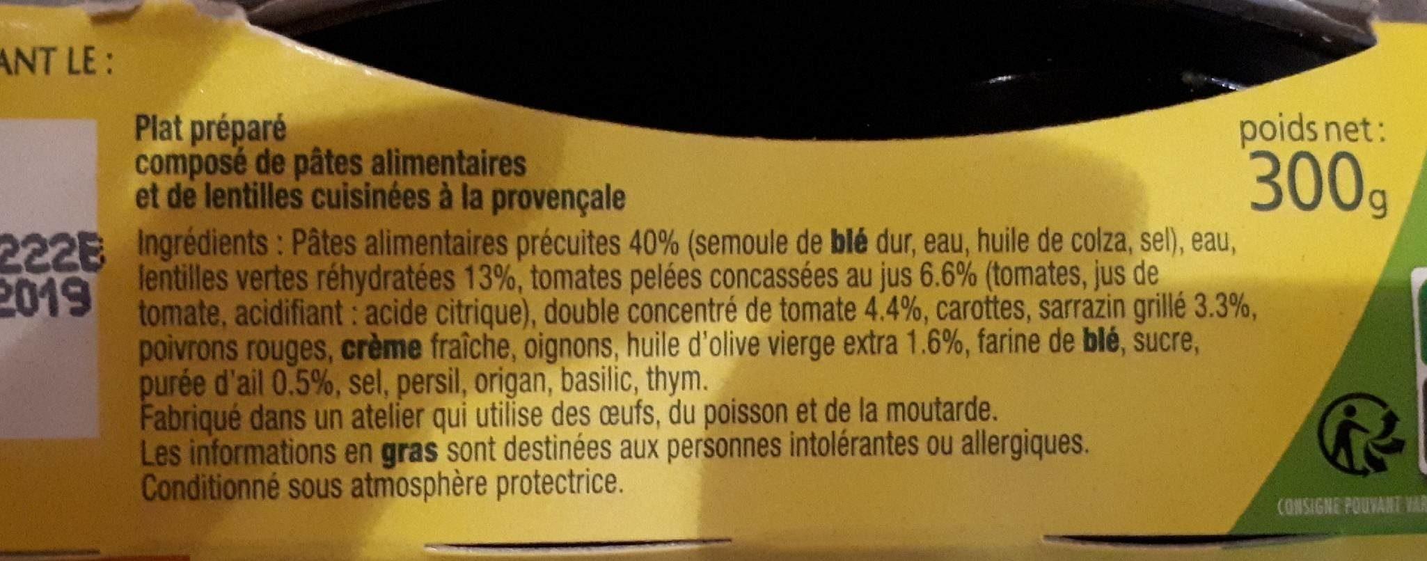 Pâtes pépinettes et lentilles à la provençale - Ingredients - fr