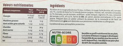 Boeuf façon tomate farcie - Nutrition facts - fr
