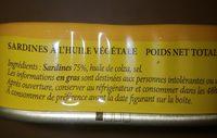 Sardines Huile Végétale - Ingredients - fr