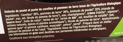 Émincés de Poulet et Purée de Carottes & Pommes de terre Bio - Ingrédients