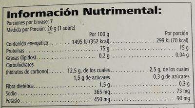 Polvo para preparar bebidas - Informação nutricional - es