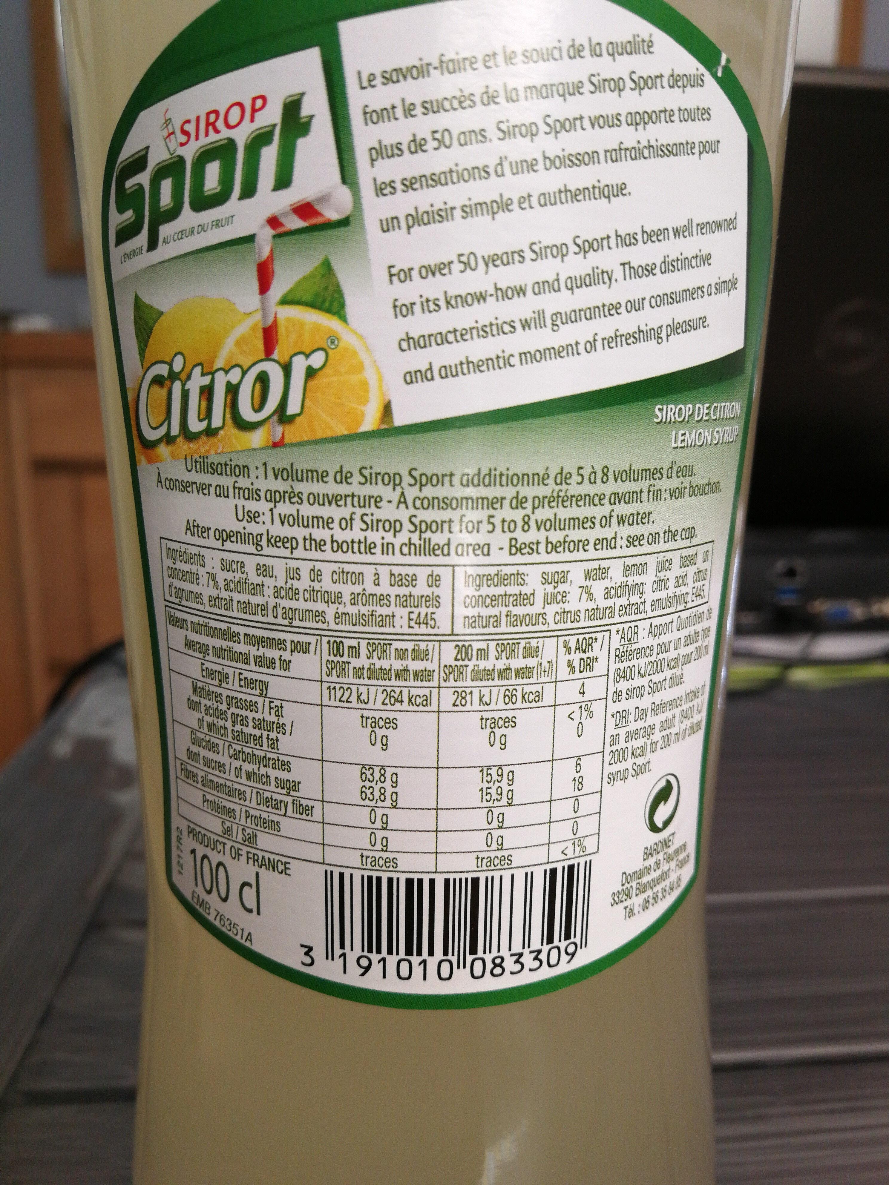 Sirop Sport Citror à diluer - Nutrition facts - fr