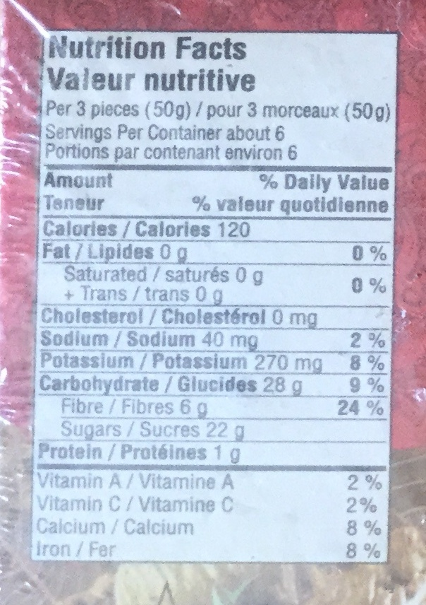 Figues pulled - Informations nutritionnelles