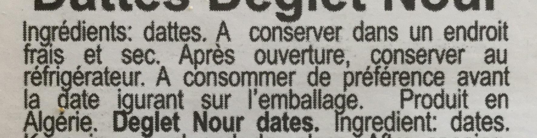 Dattes Deglet Nour - Ingredienti - fr