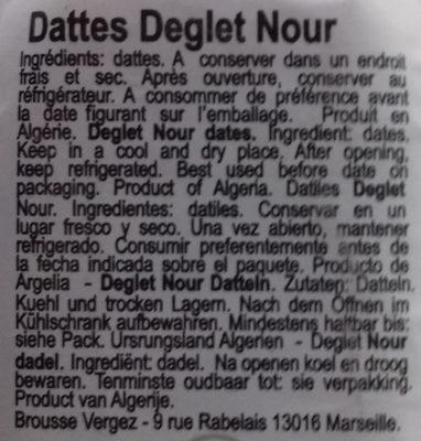 Dattes Deglet Nour - Ingrédients - es