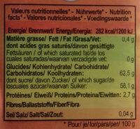 Dattes Deglet Nour - Informations nutritionnelles - es